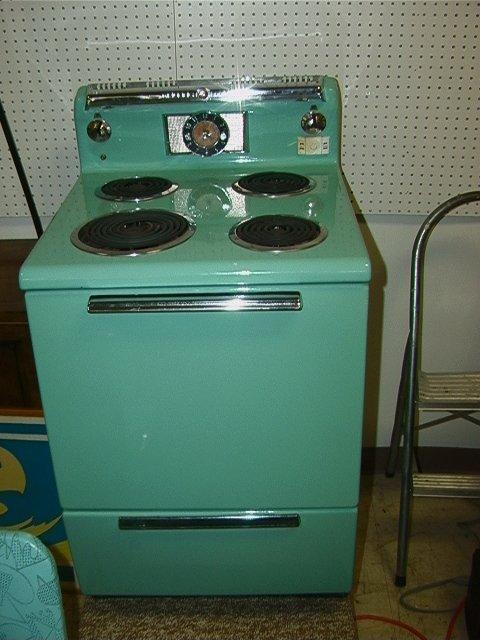 829: General Electric Turquoise Enamel Stove Vintage C.