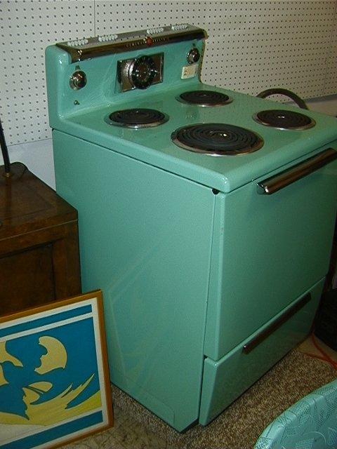 829: General Electric Turquoise Enamel Stove Vintage C. - 3