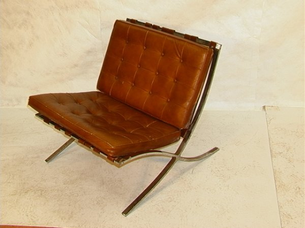 856: Leather cushion BARCELONA chair Brown leather quil