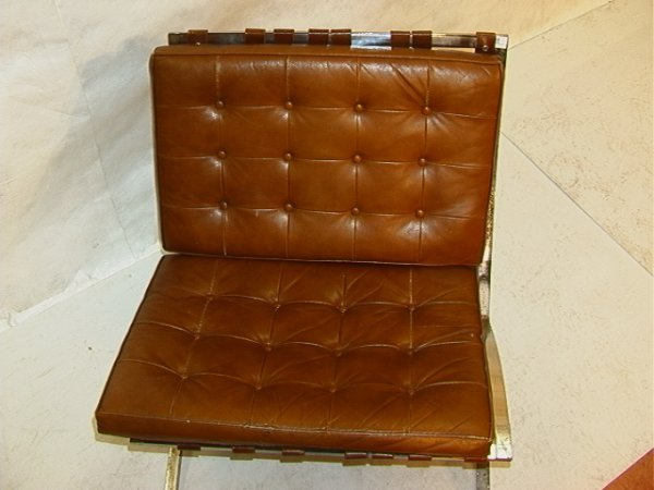856: Leather cushion BARCELONA chair Brown leather quil - 2