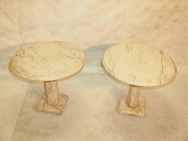 910: Pr Modern White Marble End Side Tables Pedestal Ba