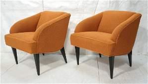 Pr Orange Upholstered Mid Century Lounge Chairs.
