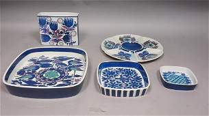 5pc ROYAL COPENHAGEN Art Pottery Dishes & Vase. S