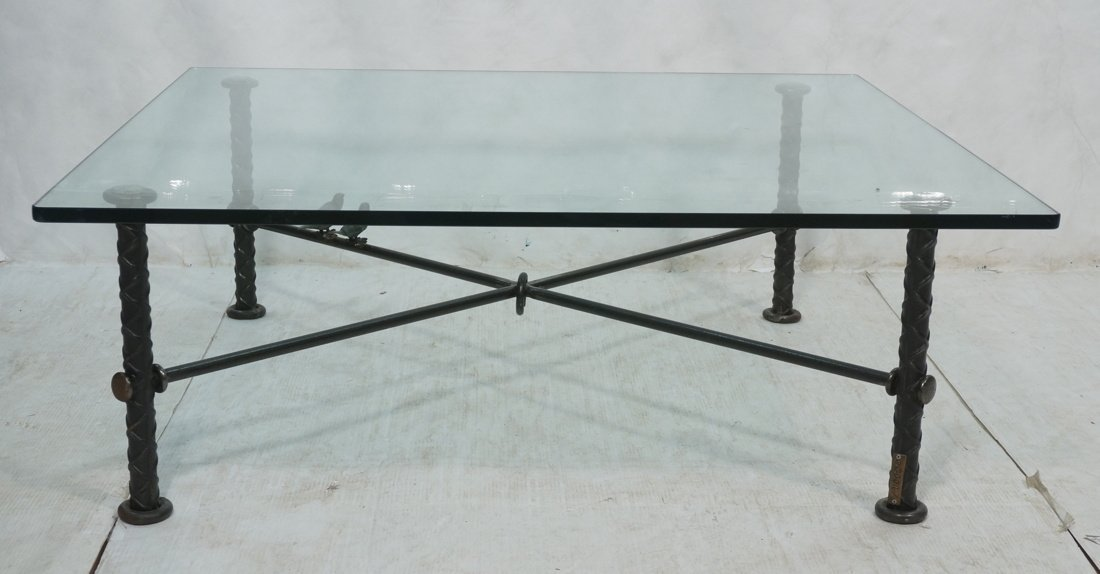 ILANA GOOR Figural Bird Square Cocktail Table. Gl
