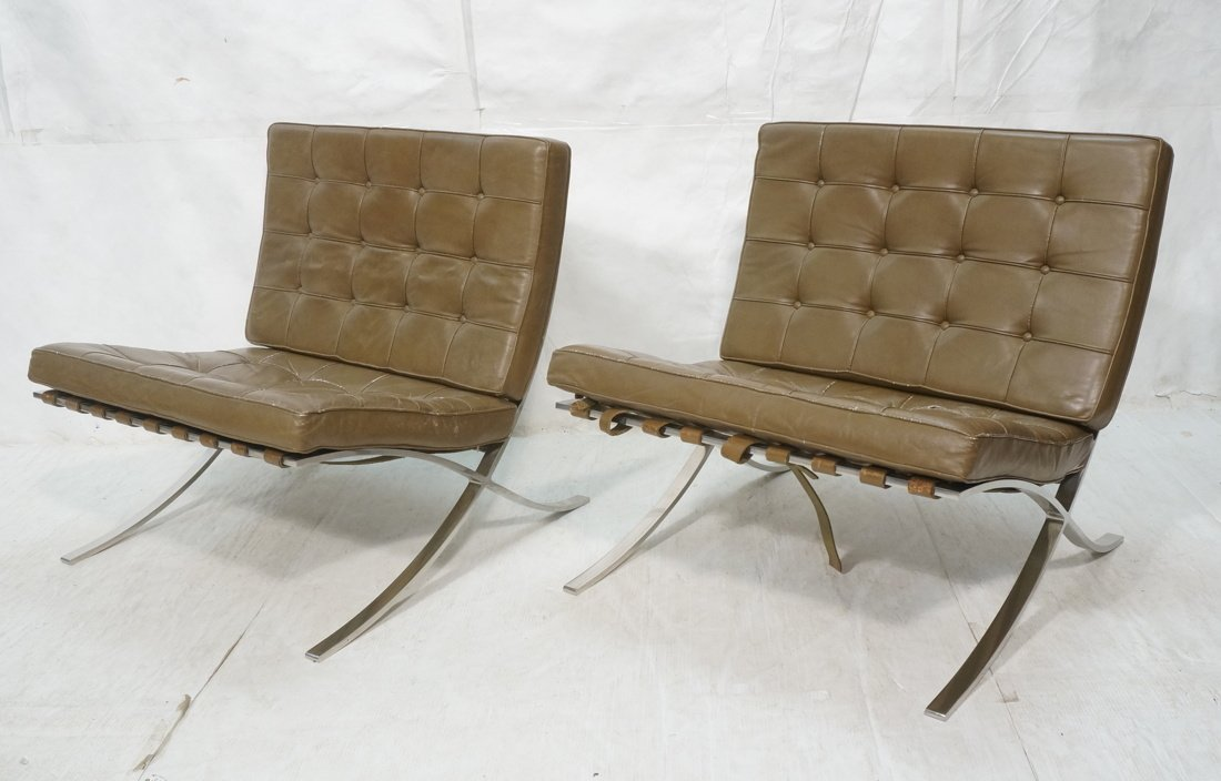 Pr Olive Leather Barcelona Lounge Chairs. KNOLL.