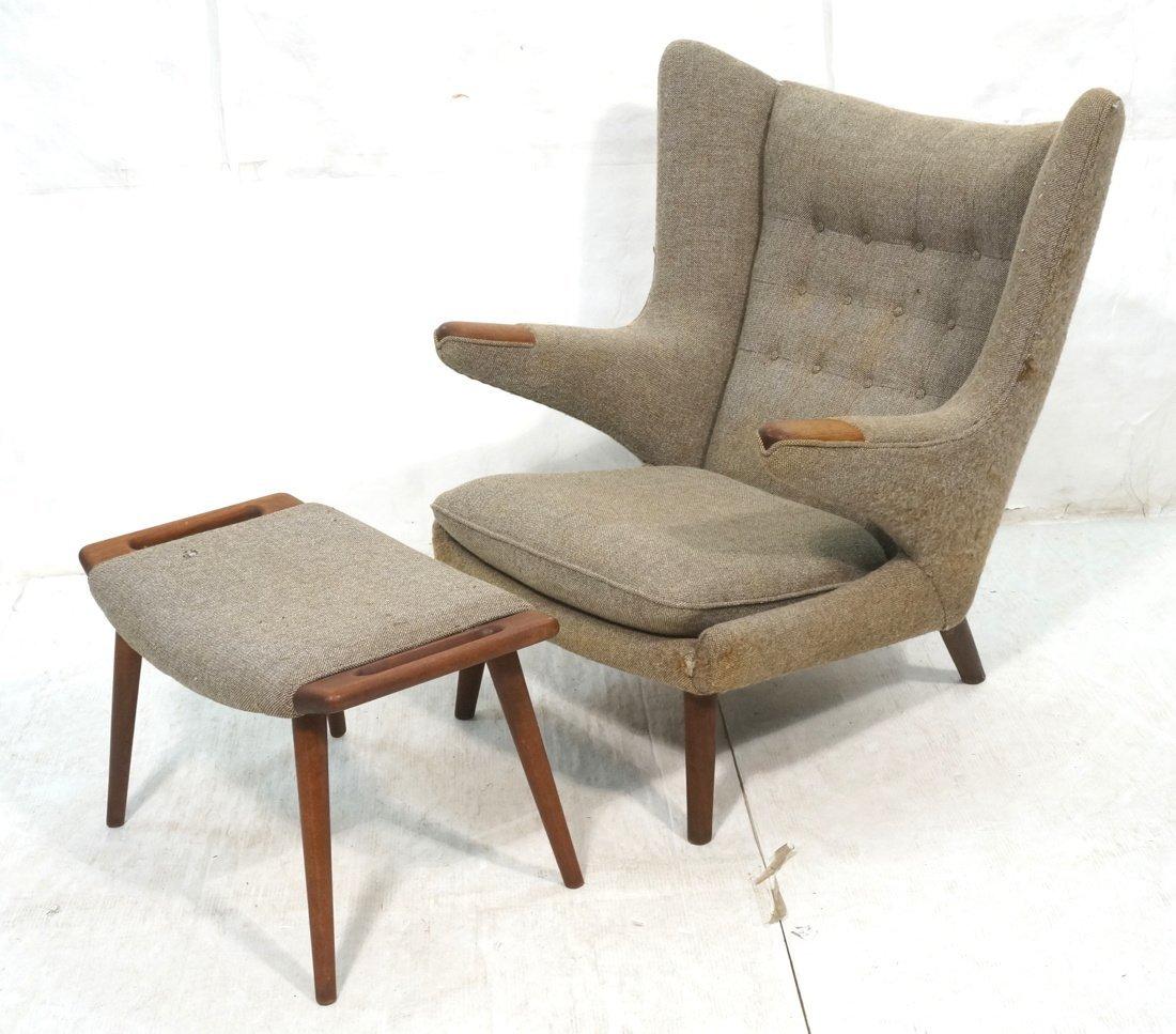 "HANS WEGNER ""Papa Bear"" Lounge Chair & Ottoman. T"