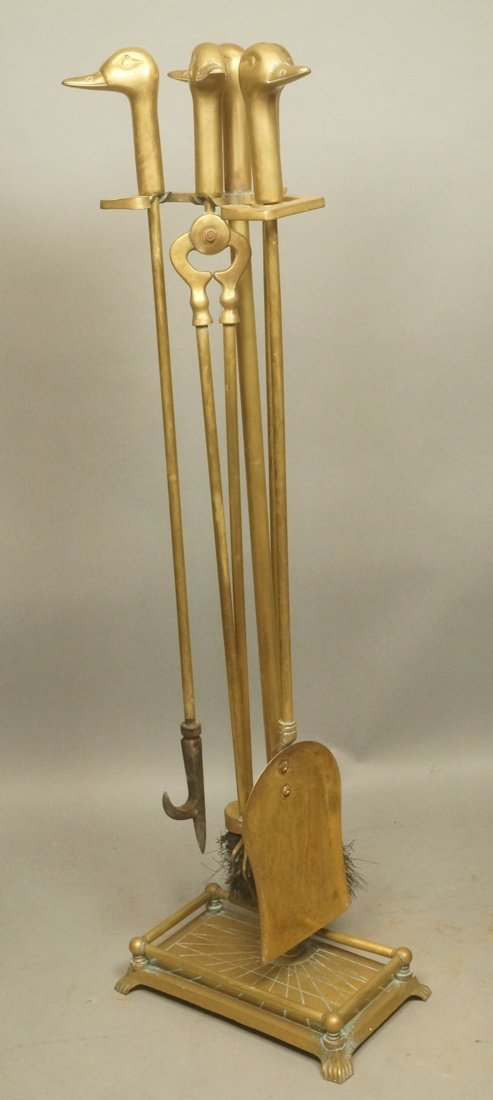Set Brass Duck Head Fireplace Tools. Three Tools