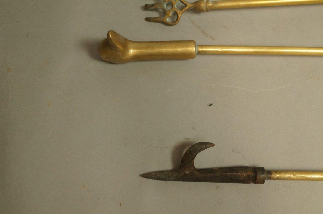 Set Brass Duck Head Fireplace Tools. Three Tools - 3