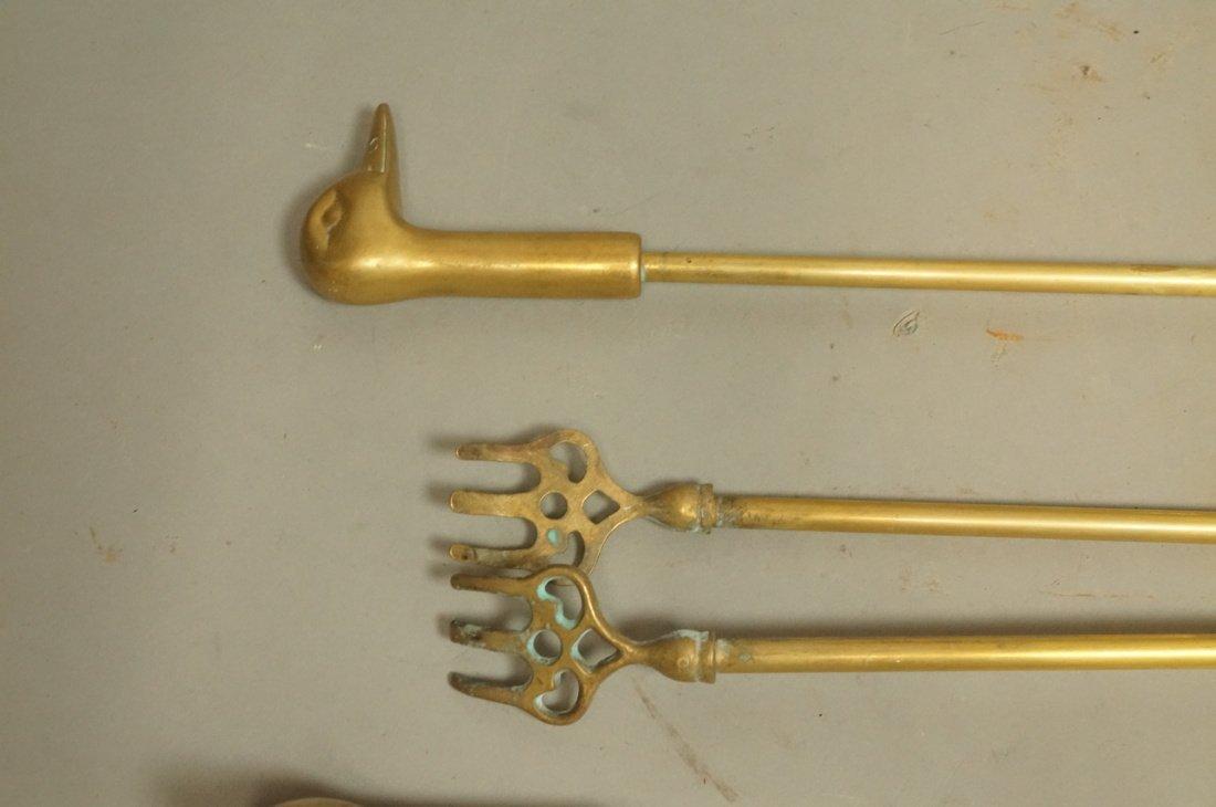 Set Brass Duck Head Fireplace Tools. Three Tools - 4