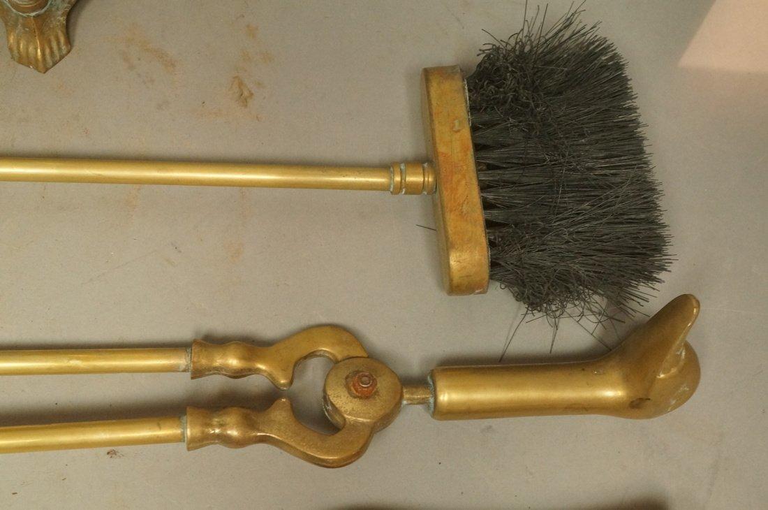 Set Brass Duck Head Fireplace Tools. Three Tools - 5