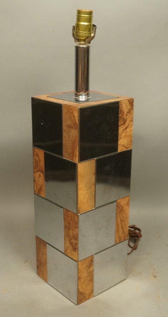 Chrome & Burl Wood Laminate Cityscape style Table