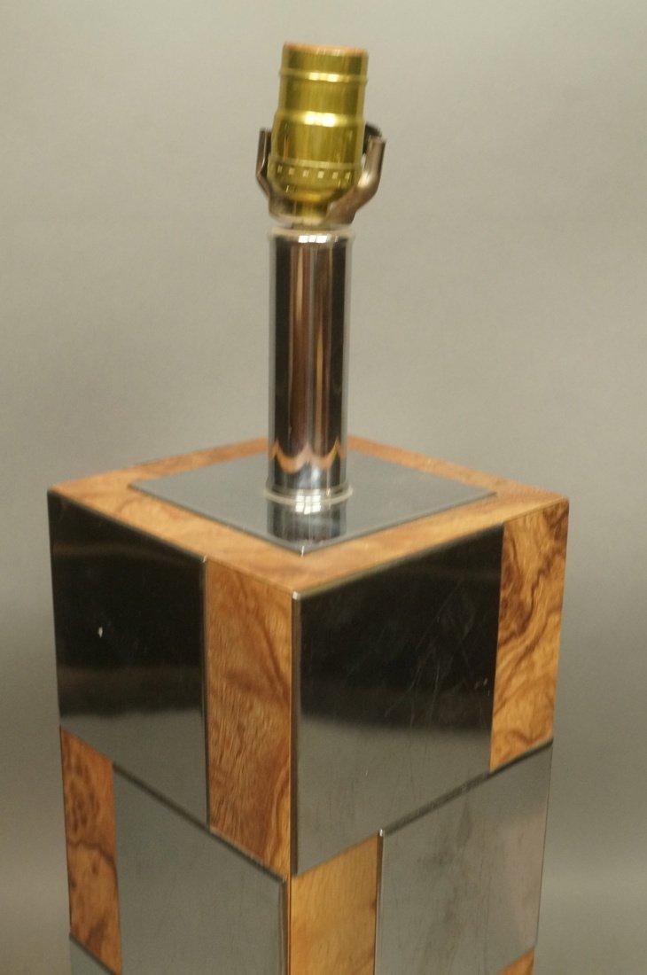 Chrome & Burl Wood Laminate Cityscape style Table - 2