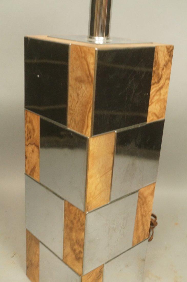 Chrome & Burl Wood Laminate Cityscape style Table - 3