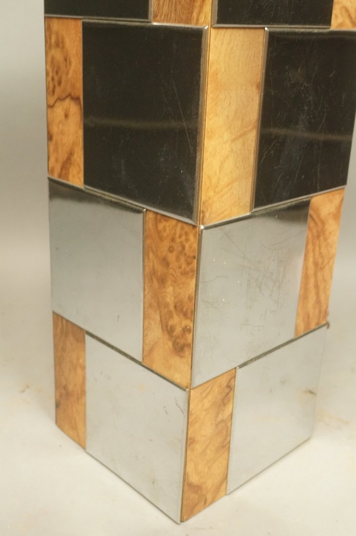 Chrome & Burl Wood Laminate Cityscape style Table - 4
