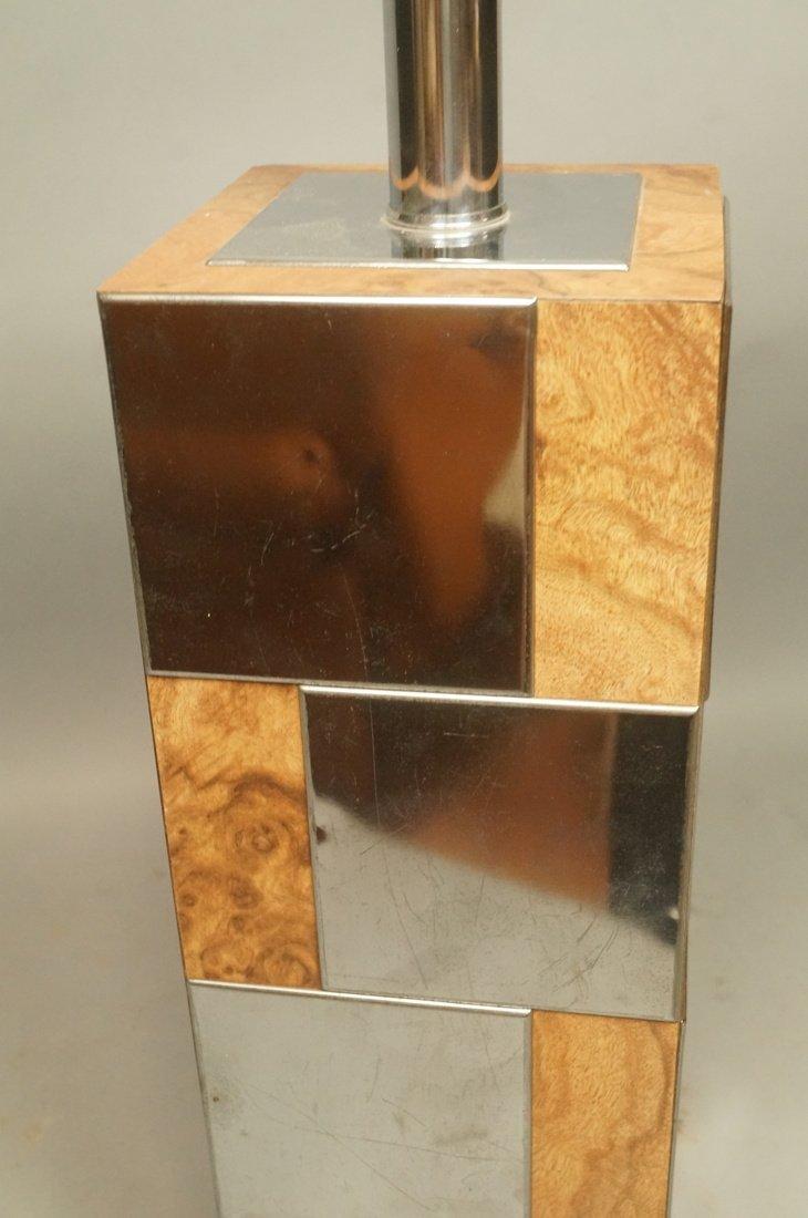 Chrome & Burl Wood Laminate Cityscape style Table - 5
