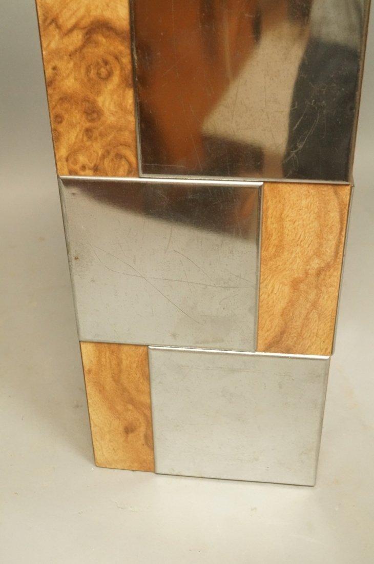 Chrome & Burl Wood Laminate Cityscape style Table - 6