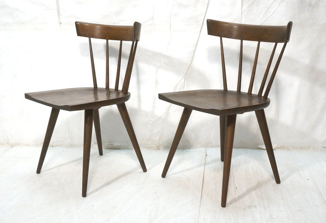 Pr PAUL McCOBB Captains Chairs. Dark Stained Wood