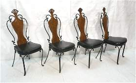 Set 4 Iron Frame & Wood Dining Chairs. Cafe Chair