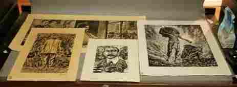 4pc Woodcut Block Prints All pencil signed