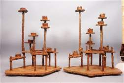 Pr Brutalist Large Rusted Iron Candle Holders. Ea