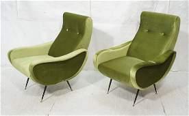 Pr Italian Upholstered Modernist Lounge Chairs. K