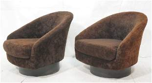Pr MILO BAUGHMAN Attributed Lounge Chairs. Swivel