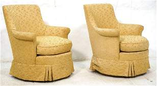 Pr Gold Fabric Swivel Lounge Chairs Pleated skir