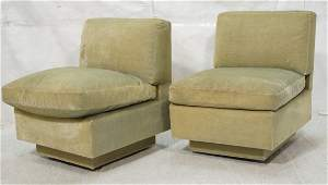 Pr Pale Frosted Green Velvet Lounge Chairs.  Arml