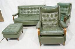 4pc Green Vinyl Seating. Couch. Two Recliner Chai
