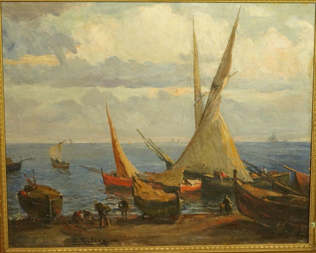 C. RUBENS Oil Painting. Coastal Scene with Sailbo