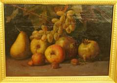 Antique Oil Painting Still Life. Fruit. Signed P.