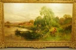 JOHN HORACE HOOPER oil Painting. Pastoral Scene o