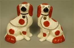 Pr Staffordshire Pottery  Earthenware Dog Figures