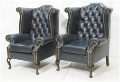 Pr Blue Leather Wing Back Chairs Brass studs Wo