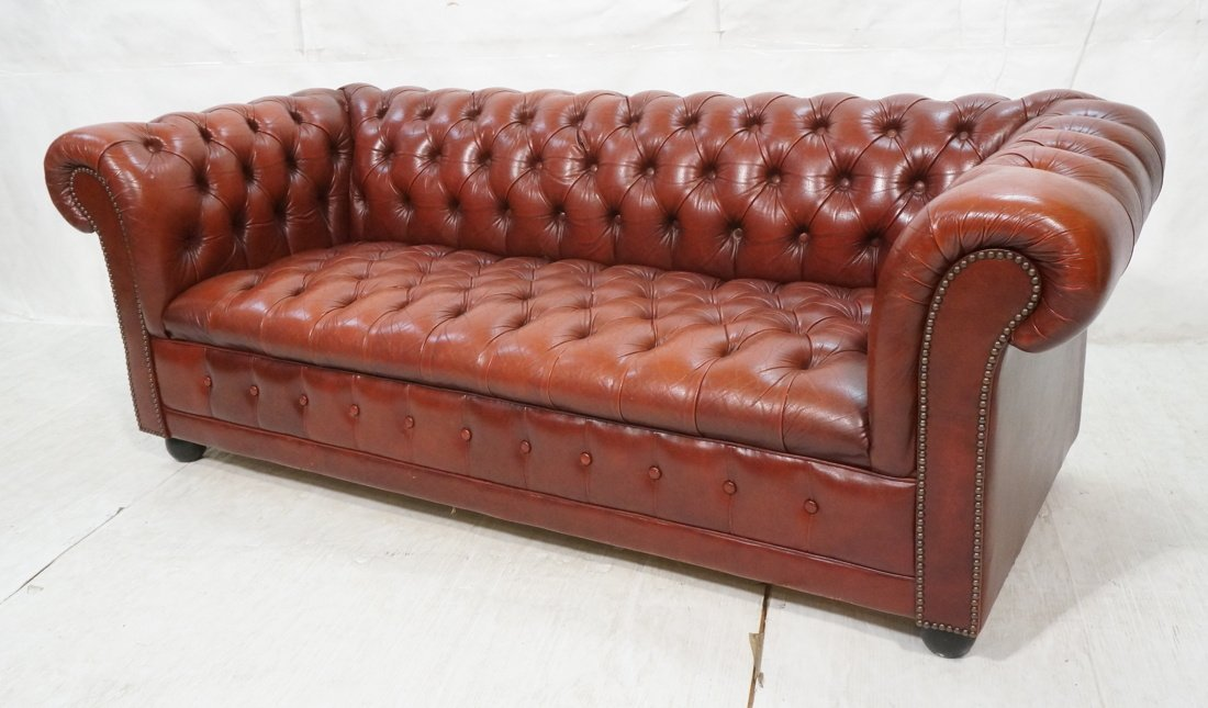 Red Burgundy Leather Chesterfield Sofa Couch. Woo