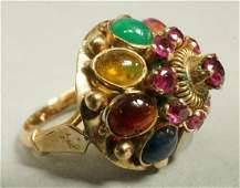 14K Gold Maharajah style Ladies Cocktail Ring. Mi