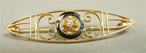 10K Gold Black Enamel Vintage Bar Pin Small diam