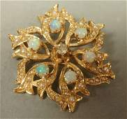 14K Gold Pin Diamond  Opal with seed pearls Fl