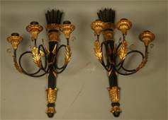 Pr Ebonized Wood Italian Wall Sconces Gilt Metal