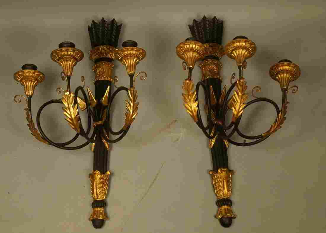 Pr Ebonized Wood Italian Wall Sconces. Gilt Metal