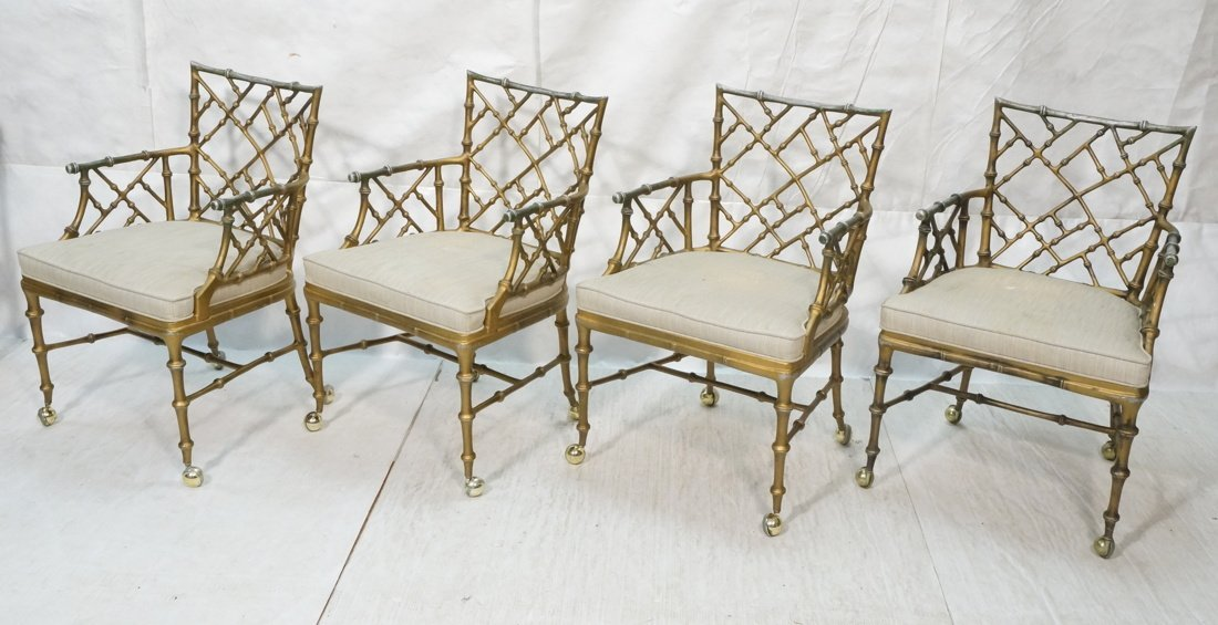 Set 4 Faux Bamboo Metal Bagues style Decorator Si