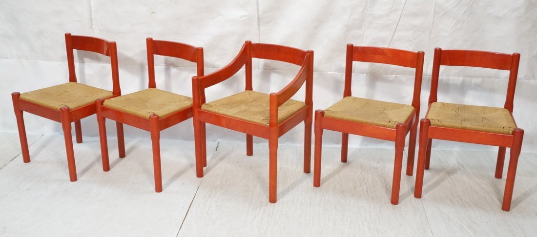 Set 5 STENDIG Red Stained Wood Dining Chairs. One
