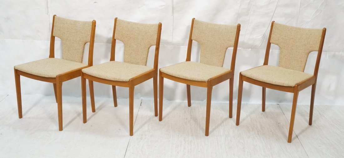 Set 4 Teak Danish Modern Side Dining Chairs. Oatm