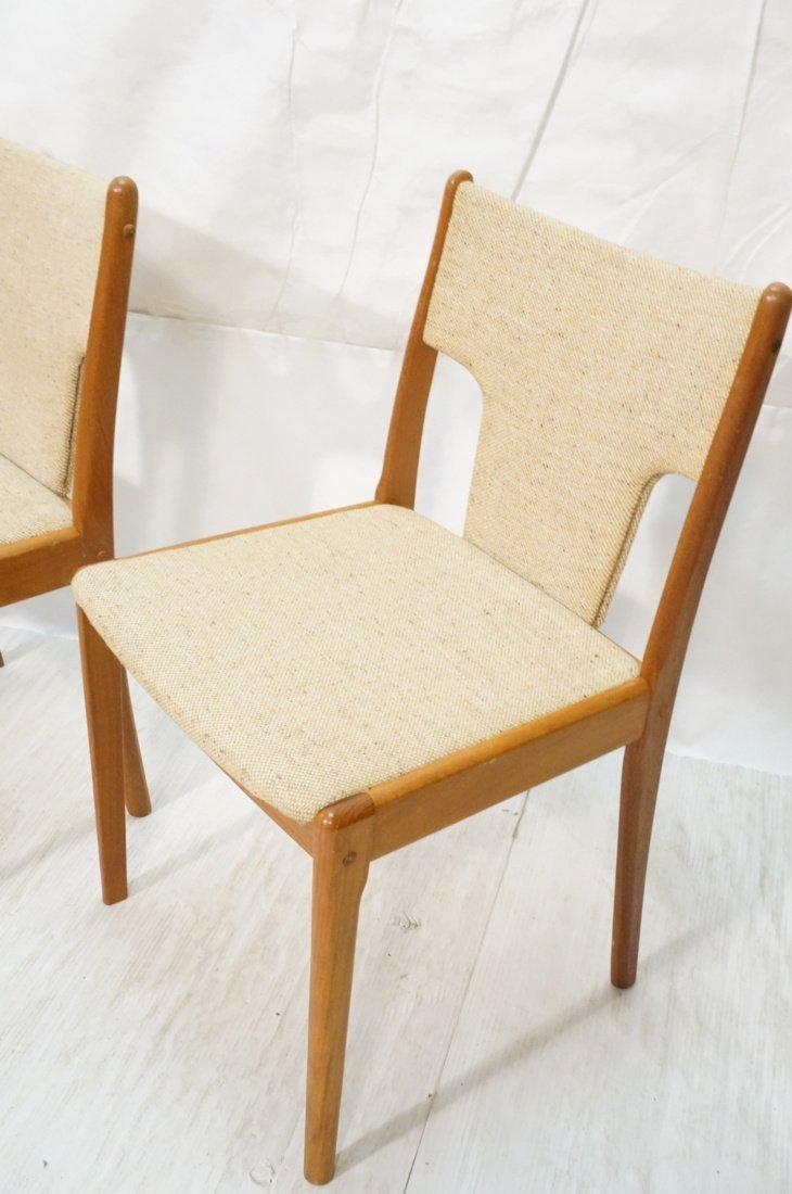 Set 4 Teak Danish Modern Side Dining Chairs. Oatm - 2