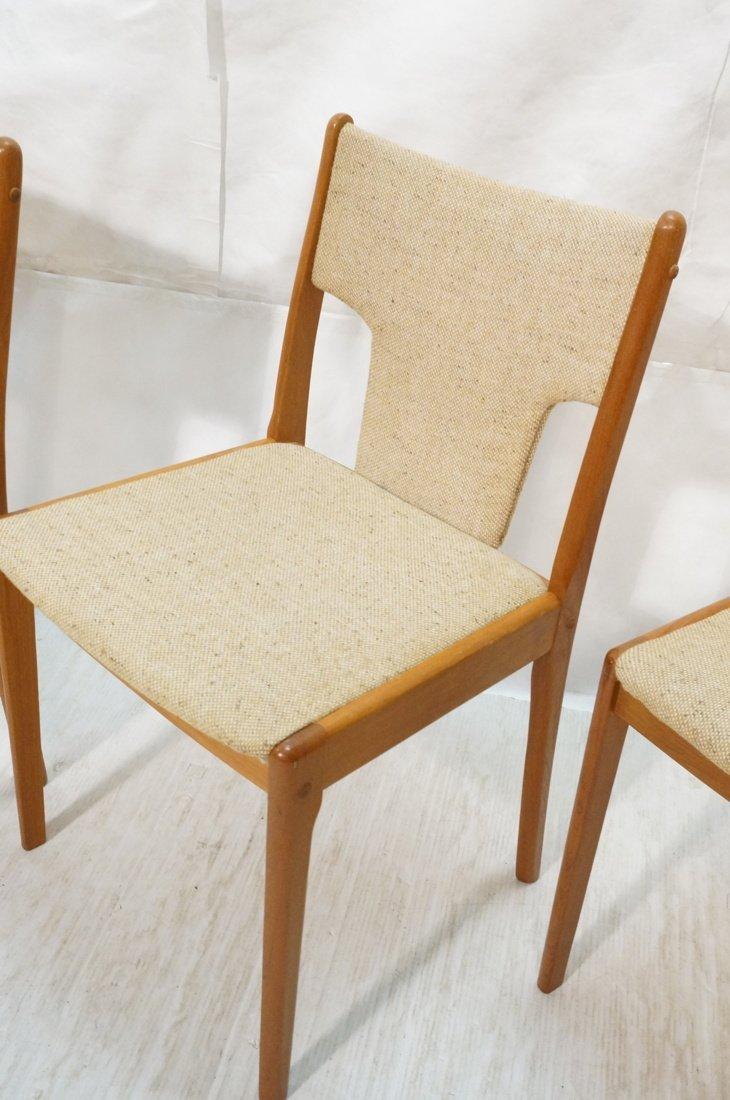 Set 4 Teak Danish Modern Side Dining Chairs. Oatm - 3