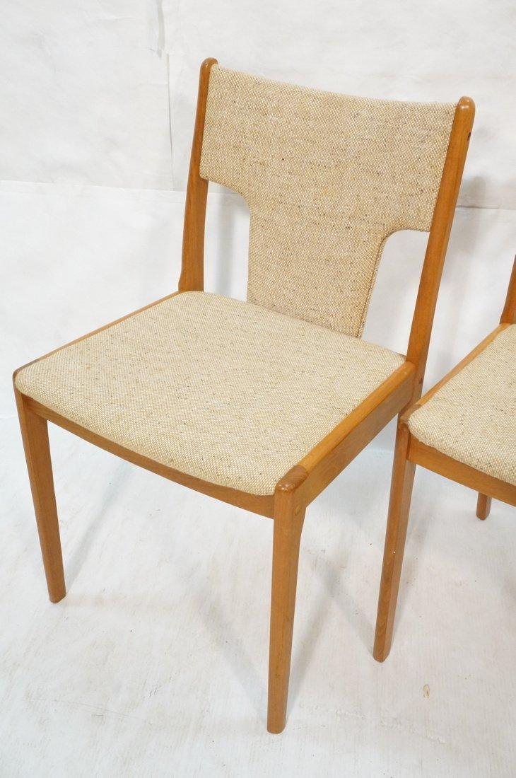 Set 4 Teak Danish Modern Side Dining Chairs. Oatm - 5