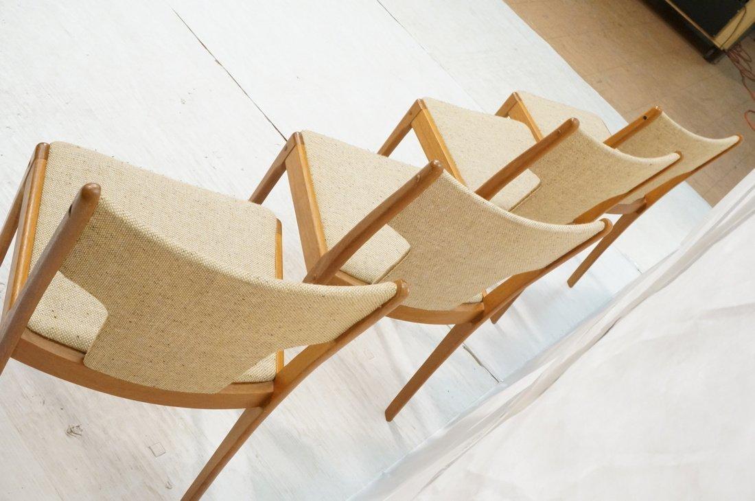 Set 4 Teak Danish Modern Side Dining Chairs. Oatm - 7