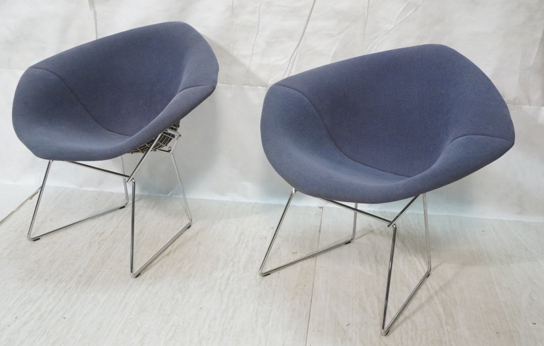 Pr KNOLL Harry Bertoia Diamond Chairs. Blue gray