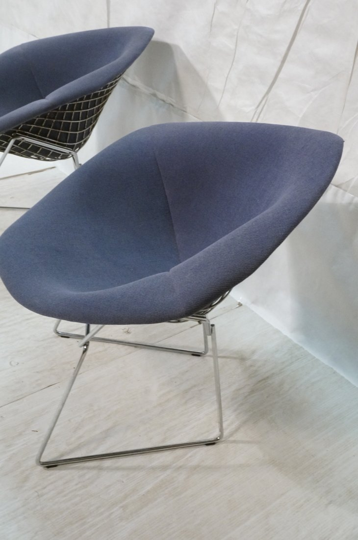 Pr KNOLL Harry Bertoia Diamond Chairs. Blue gray - 2