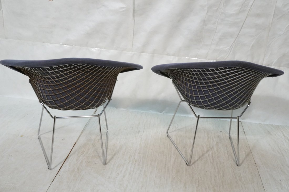 Pr KNOLL Harry Bertoia Diamond Chairs. Blue gray - 6